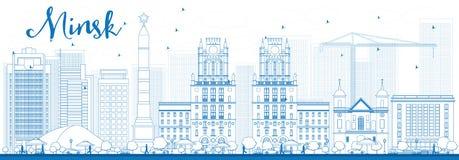 Skyline de Minsk do esboço com construções azuis Imagem de Stock
