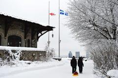 Skyline de Montreal na neve Fotos de Stock Royalty Free
