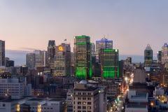 Skyline de Montreal na noite Fotos de Stock Royalty Free
