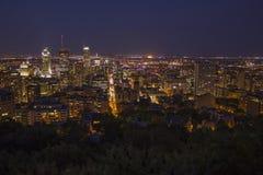 Skyline de Montreal na noite Fotografia de Stock Royalty Free