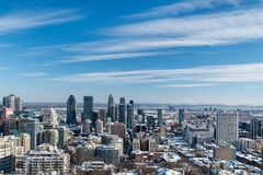 Skyline de Montreal no inverno 2018 Fotos de Stock Royalty Free