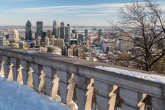 Skyline de Montreal no inverno 2018 Fotos de Stock