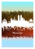 Skyline de Mumbai azul e branca ilustração do vetor