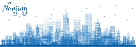 Skyline de Nanjing China do esboço com construções azuis ilustração stock