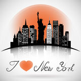 Skyline de New York City com reflexão Vetor do EPS 10 ilustração do vetor