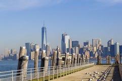Skyline de New York City de Liberty Island Imagens de Stock Royalty Free
