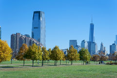 Skyline de New York City de Liberty State Park Foto de Stock