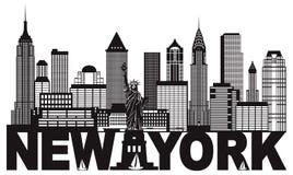 Skyline de New York City e ilustração preto e branco do texto ilustração stock
