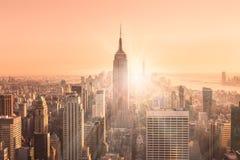 Skyline de New York City Manhattan no por do sol Imagem de Stock Royalty Free