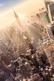 Skyline de New York City Manhattan no por do sol Imagens de Stock