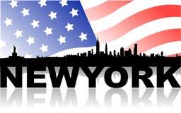 Skyline de New York com bandeira e texto ilustração stock