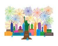 A skyline de New York e a estatura de Liberty Fireworks vector a ilustração ilustração royalty free