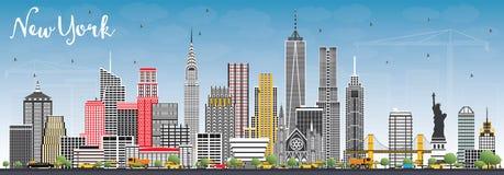 Skyline de New York EUA com Gray Skyscrapers e o céu azul ilustração stock