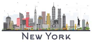 Skyline de New York EUA com Gray Skyscrapers Isolated no CCB branco ilustração royalty free