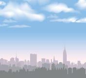 Skyline de New York Paisagem dos EUA do vetor Arquitetura da cidade no amanhecer Fotografia de Stock