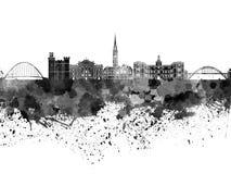 Skyline de Newcastle na aquarela preta Fotografia de Stock Royalty Free