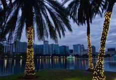 Skyline de Orlando no Natal Fotos de Stock Royalty Free
