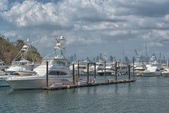 Skyline de Panam? da cidade do porto da ilha do perico na cal?ada de Amador imagens de stock