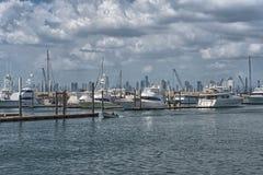 Skyline de Panam? da cidade do porto da ilha do perico na cal?ada de Amador imagem de stock royalty free