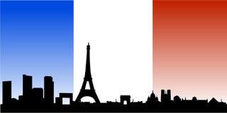Skyline de Paris com bandeira francesa Fotografia de Stock Royalty Free
