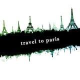 Skyline de Paris da torre Eiffel, ilustração do sumário do estilo do grunge Imagens de Stock Royalty Free