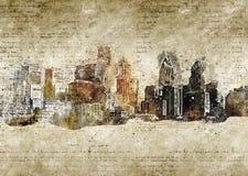 Skyline de Philadelphfia no olhar moderno e abstrato do vintage Fotos de Stock Royalty Free