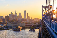 Skyline de Philadelphfia no por do sol Foto de Stock