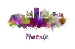 Skyline de Phoenix na aquarela ilustração royalty free