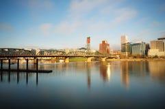 Skyline de Portland e céu bonito Imagens de Stock Royalty Free