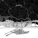 Skyline de Porto com mapa ilustração stock