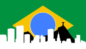 Skyline de Rio de Janeiro com bandeira Brasil ilustração stock