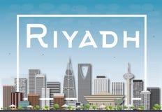 Skyline de Riyadh com construções cinzentas e o céu azul Fotografia de Stock