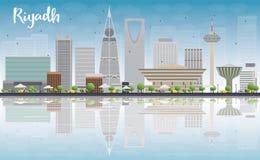 Skyline de Riyadh com construções cinzentas, o céu azul e a reflexão ilustração royalty free