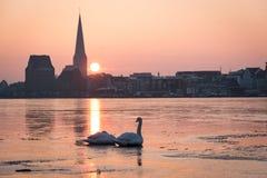 Skyline de Rostock no nascer do sol Fotografia de Stock Royalty Free