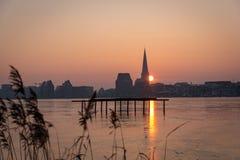 Skyline de Rostock no nascer do sol Imagem de Stock Royalty Free