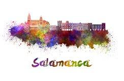 Skyline de Salamanca na aquarela Imagens de Stock
