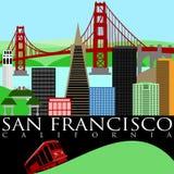 Skyline de San Francisco com a ponte de porta dourada Fotos de Stock Royalty Free