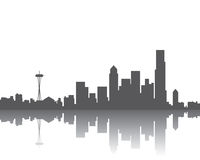 Skyline de Seattle ilustração do vetor