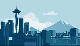 Skyline de Seattle ilustração royalty free