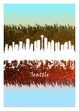 Skyline de Seattle azul e branca ilustração stock