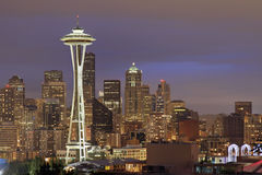 Skyline de Seattle no crepúsculo Imagem de Stock Royalty Free