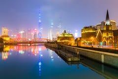 Skyline de shanghai da vista de Suzhou River Fotos de Stock Royalty Free