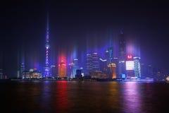 Skyline de Shanghai na noite Fotos de Stock