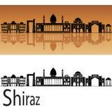 Skyline de Shiraz no fundo alaranjado imagens de stock
