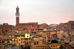 Skyline de Siena no por do sol foto de stock royalty free