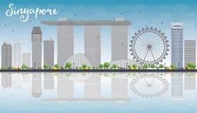 Skyline de Singapura com marcos cinzentos, o céu azul e as reflexões Fotografia de Stock