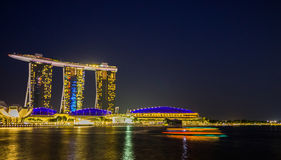 Skyline de Singapura e vista Marina Bay Fotografia de Stock Royalty Free