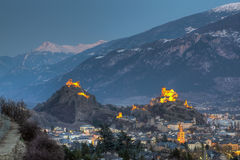 Skyline de Sion, Switzerland Imagens de Stock Royalty Free