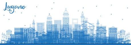 Skyline de Suíça de Lugano do esboço com construções azuis ilustração stock