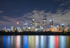 Skyline de Sydney CBD na noite Fotografia de Stock Royalty Free